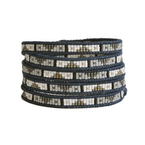 CHAN LUU チャンルー BSM-1567  5連ラップブレスレット  ガラスビーズトライバル / WHT MX-NDBL|luvri