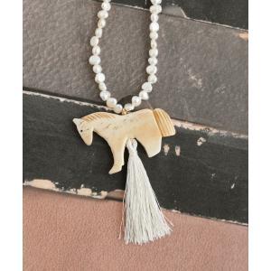 淡水パールと馬のフリンジネックレス|luvri