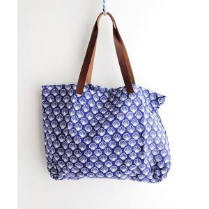 フランスデザイン シェルプリント トートバッグ ブルー|luvri