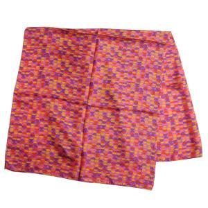 【DM便可 180円】フランスデザイン 正方形  大判シルクスカーフ セミサークル/ピンク|luvri