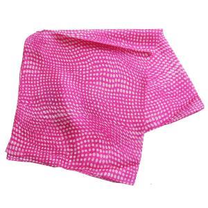 【DM便可 180円】フランスデザイン 正方形  ミニシルクスカーフ ドット/ピンク|luvri