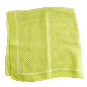 【DM便可 180円】フランスデザイン 正方形  大判シルクスカーフ ドット イエローグリーン|luvri