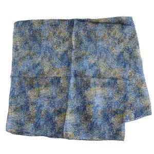 【DM便可 180円】フランスデザイン 正方形  大判シルクスカーフ POINT ILLISME ブルー|luvri