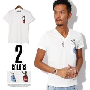 BITTER Tシャツ メンズ サングラス/サングラスプリントポケット付きVネック半袖Tシャツ/ポケットTシャツ ポケT ポケット付き だまし絵 tシャツ Vネック 半袖