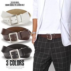 ベルト メンズ/スクエアギャリソンバックルドロップホールフェイクレザーベルト/バックル カジュアル ビジネス ブランド プレゼント レザー メンズファッション|lux-style