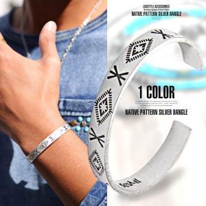 バングル メンズ ブレスレット オルテガ柄 ネイティブ柄 BITTER ビター系/ネイティブ型押しアンティークシルバーバングル/アクセサリー チマヨ柄 アンティーク lux-style