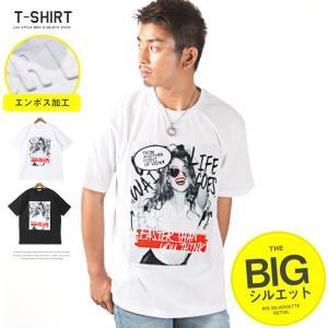 Tシャツ メンズ 半袖 ガールズフォト エンボス ロゴ プリント オーバーサイズ ストリート