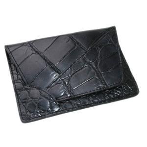 クロコダイル本革 カードケース/名刺入れ ブラック|luxcel-shop