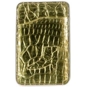 クロコダイル本革 パスケース/ICカードケース ゴールド2|luxcel-shop