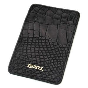 クロコダイル本革 パスケース/ICカードケース ブラック|luxcel-shop