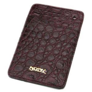 クロコダイル本革 パスケース/ICカードケース ワイン|luxcel-shop