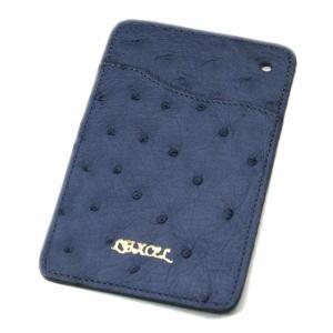 オーストリッチ本革 パスケース/ICカードケース ブルージーン|luxcel-shop