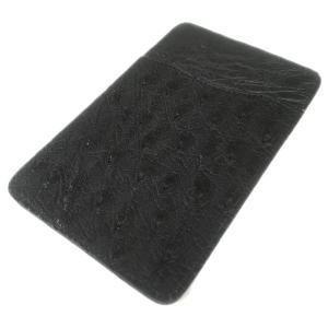 オーストリッチ本革 パスケース/ICカードケース ブラック|luxcel-shop