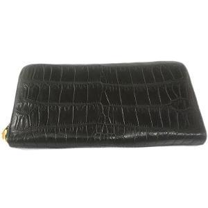 クロコダイル本革 ラウンドファスナー 長財布 ブラック|luxcel-shop