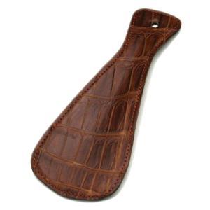 クロコダイル本革 携帯用靴ベラ ライトブラウン|luxcel-shop