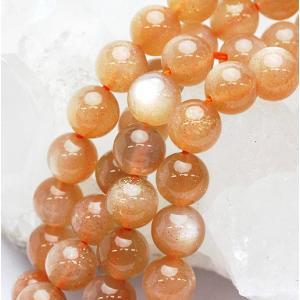 高品質ビーズ オレンジムーンストーンAAA ラウンド 8.0ミリ玉 1粒売り/ばら売り|luz