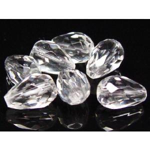 サービス品 天然石ビーズ 水晶ドロップカット 10×7  粒売り |luz
