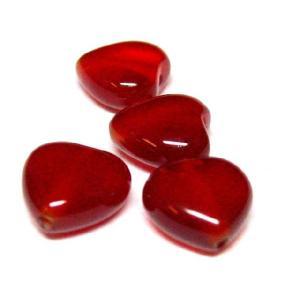 天然石ビーズ 赤メノウハート 12×12 1粒|luz