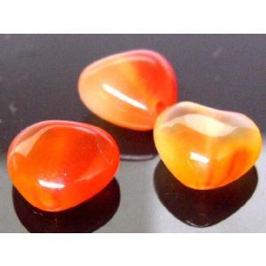 天然石ビーズ  カーネリアンハート  9〜10ミリ 1粒 luz
