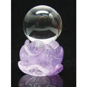 アメジスト蓮の花台 天然水晶玉|luz