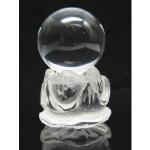 水晶蓮の花台 天然水晶玉|luz