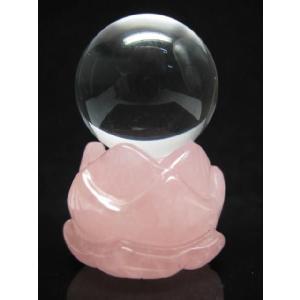 ローズクォーツ蓮花台 天然水晶玉 28ミリ玉|luz