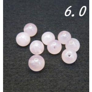 天然石ビーズ ローズクォーツAA ラウンド 6.0mm玉 粒売り/バラ売り luz