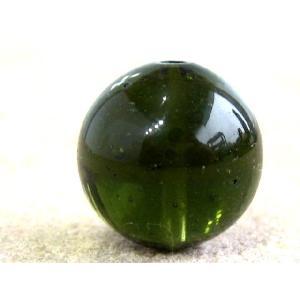 隕石ビーズ モルダバイト 11.0ミリ玉ビーズ 1粒  高品質/鑑定済み|luz
