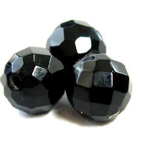 天然石ビーズ オニキス32面カット 6 8 10mm玉 粒売|luz