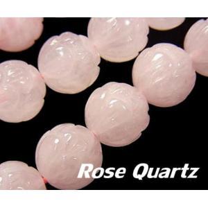 天然石ビーズ ローズクォーツAA ロータスカット 10.0ミリ玉 粒売り/バラ売り luz