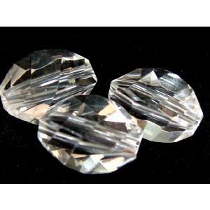 天然石ビーズ 水晶 ツイストカット8×5ミリ玉 1粒|luz