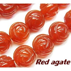 天然石ビーズ レッドアゲートAAA ラウンドローズ(薔薇)カット10mm  1粒売り/バラ売り |luz