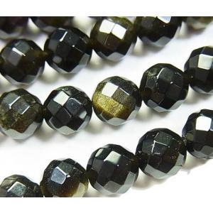 天然石ビーズ ゴールデンシャイン オブシディアン 64面ラウンドカット  8.0ミリ玉 1粒売り/バラ売り|luz