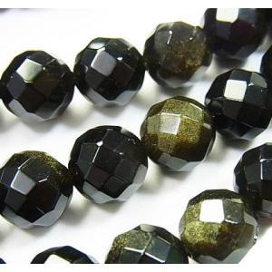 天然石ビーズ ゴールデンシャイン オブシディアン 64面ラウンドカット  10.0ミリ玉 1粒売り/バラ売り|luz