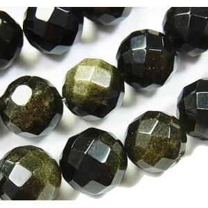 天然石ビーズ ゴールデンシャイン オブシディアン 64面ラウンドカット  12.0ミリ玉 1粒売り/バラ売り|luz