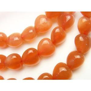 天然石ビーズ ボツワナ産オレンジカルセドニーAAA〜AAA- 縦穴ハートシェイプ8×8×6 1粒 luz