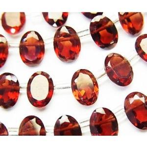 宝石質ビーズ ガーネットAAA オーバルファセットカット7×5×3mm玉 1粒売り/バラ売り   luz