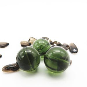 高品質!隕石ビーズ  モルダバイト 12.0ミリ玉ビーズ 1粒売り/バラ売り  鑑定済み|luz