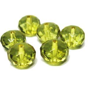 天然石ビーズ グリーンアンバーボタンカットビーズ 8×5 限定品/1粒|luz