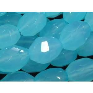 天然石ビーズ シーブルーカルセドニータンブルカット12×10ミリ玉 1粒 luz
