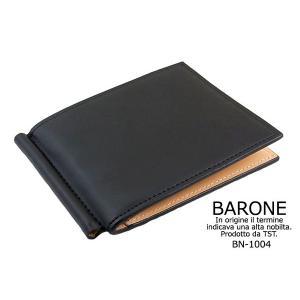 マネークリップ  BARONE  メンズ マネークリップ 短財布 牛革 BN-1004|lvx200807