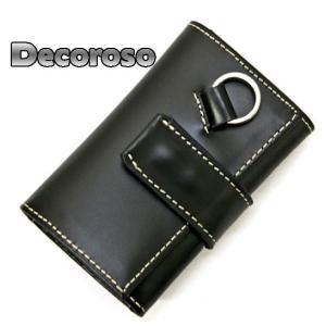 キーケース メンズキーケース Decoroso CL-1505-BK|lvx200807