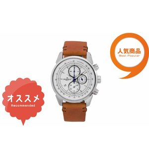 ≪安心の日本製≫クロノグラフ 腕時計 最高級イタリアンレザーベルト 紳士用GRANDEUR PLUS(グランドール プラス) 腕時計 白文字盤(茶ベルト) [grp001w1]|lvx200807