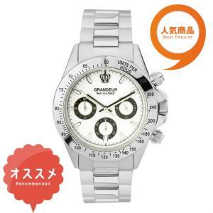 ≪日本製≫紳士用 腕時計 メタルバンド(金属) メンズウォッチ クオーツGRANDEUR(グランドール) 腕時計 文字盤:白、クロノグラフ:黒 [jgr004w6]|lvx200807