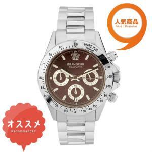 ≪日本製≫紳士用 腕時計 メタルバンド(金属) メンズウォッチ クオーツGRANDEUR(グランドール) 腕時計 文字盤:赤、クロノグラフ:白 [jgr004w7]|lvx200807