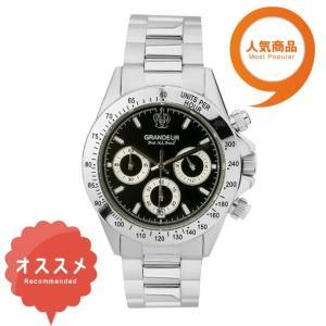 ≪日本製≫紳士用 腕時計 メタルバンド(金属) メンズウォッチ クオーツGRANDEUR(グランドール) 腕時計 文字盤:黒、クロノグラフ:白 [jgr004w8]|lvx200807