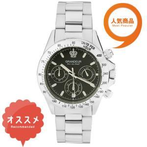 ≪日本製≫紳士用 腕時計 メタルバンド(金属 )メンズウォッチ クオーツGRANDEUR(グランドール) 腕時計 文字盤:黒、クロノグラフ:黒 [jgr004w9]|lvx200807