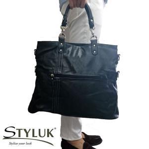 【STYLUKスタイラック】2way3style 大容量ショルダーバッグ&トートバッグメンズ(ファッション雑貨) バッグ 黒 [mjnt121bk]|lvx200807