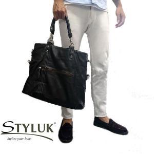 【STYLUKスタイラック】2way3style 大容量ショルダーバッグ&トートバッグメンズ(ファッション雑貨) バッグ 茶 [mjnt121br]|lvx200807