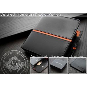 二つ折り財布 メンズ二つ折り財布 メンズ短財布 センターライン United HOMME UH-1073 オレンジ|lvx200807